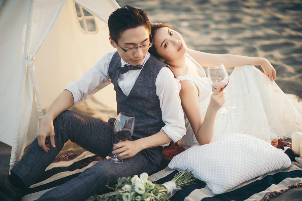 清新美式風格|沙灘、海邊、營火讓快門捨不得停下來的婚紗寫真 Hermosa