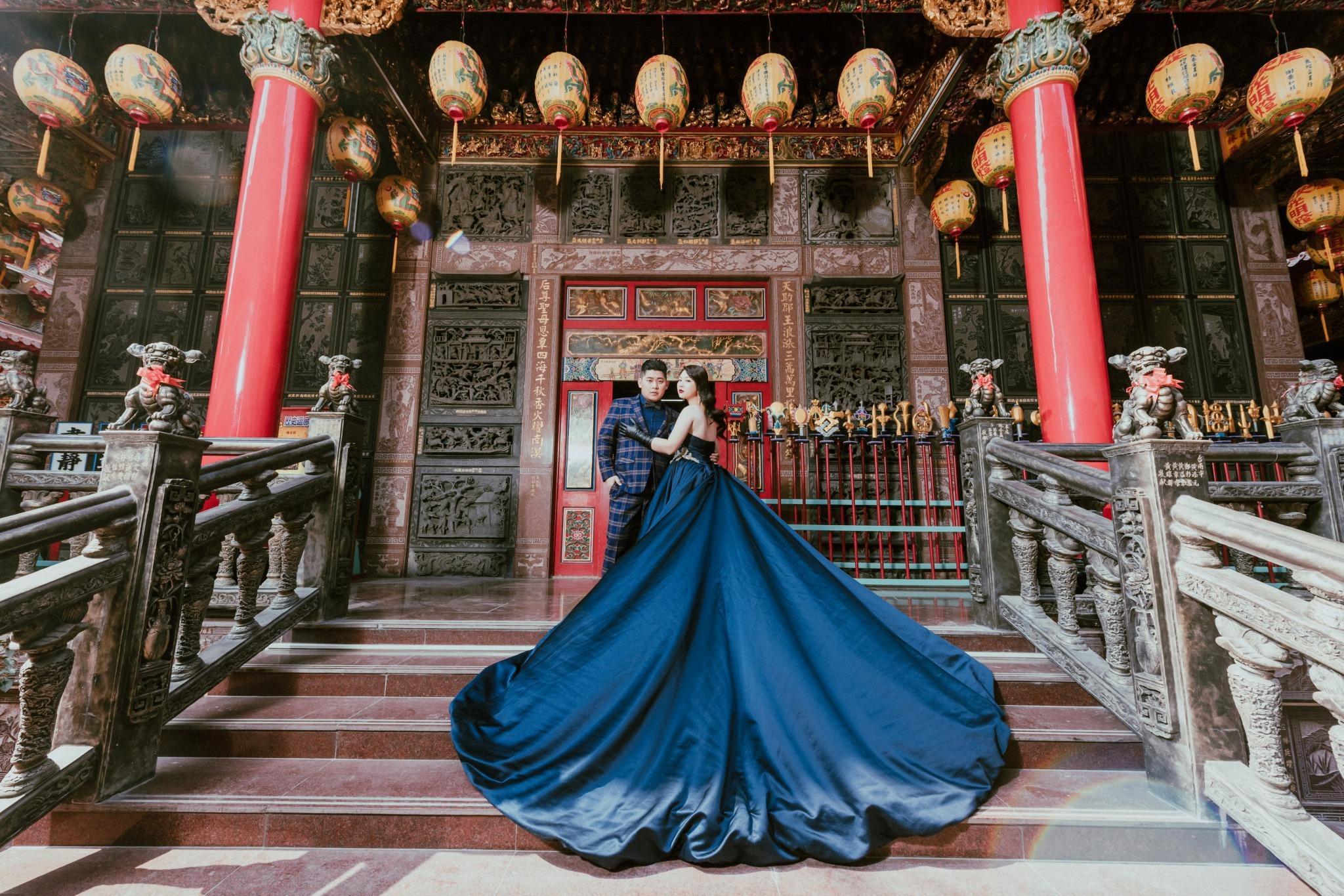 台南自助婚紗|鹿耳門天后宮的時尚廟宇婚紗|fantasy范特囍手工婚紗